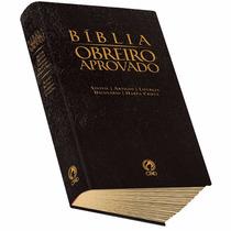 Bíblia Obreiro Aprovado Média Luxo Preta Com Harpa Cristã.