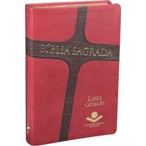 Bíblia Sagrada Ra Com Letra Gde. Capa Cruz Vermelho/marrom