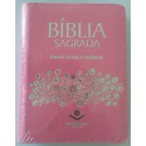 Bíblia Com Zíper Almeida Revista E Atualizada , Rosa