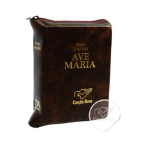 Bíblia Católica Ave Maria Zíper Pequena De Bolso Couro