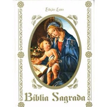 Bíblia Sagrada Católica - Ed. Luxuosa Capa Branca Com Cd