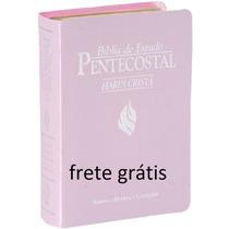 Bíblia De Estudo Pentecostal Lilás-luxo-pequena-frete Grátis