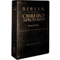 Bíblia Do Obreiro Aprovado - Média Luxo Preta C/ Harpa
