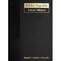Bíblia Nvi Trilingue Inglês Português Espanhol Luxo Preta