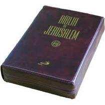 Bíblia De Jerusalém Capa Couro C/ Ziper Edição De Luxo Média