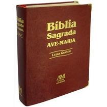 Bíblia Sagrada Católica Couro Marrom Letra Grande Ave Maria