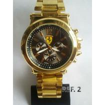 Relógio Masculino Dourado Ferrari Promocional
