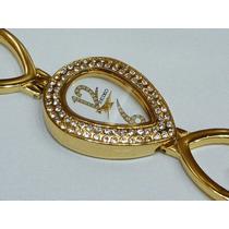 Relógio Antigo Seiko Ladie Japan Quartz Strass Banhado Ouro