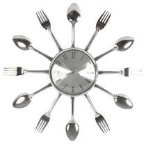 Relógio De Parede Talheres Gourmet Decor Em Alumínio