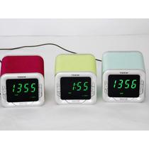 Relógio Digital Led De Mesa Calendário Digitos Verde.