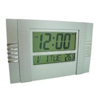 Relógio De Parede Digital Com Data Temperatura Alarme Prata