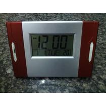 Relógio De Parede Digital Temperatura E Alarme Vermel Mj2809