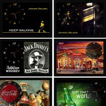 Quadro Relógio Parede Whisky Jack Daniels Johnnie Walker Top