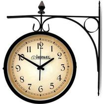 6358 - Relógio De Parede Dupla Face Herweg 1 Ano De Garantia