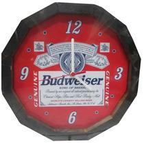 Relogio Cerveja Budweiser Moldura Madeira