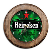 Relógio Heineken Com Moldura De Madeira