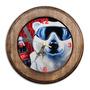 Relógio Urso Polar Coca-cola Com Moldura De Madeira