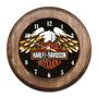 Relógio Harley-davidson Com Moldura De Madeira