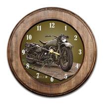 Relógio Moto Antiga Com Moldura De Madeira
