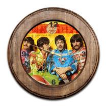 Relógio The Beatles Com Moldura De Madeira