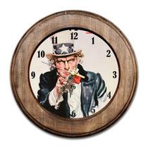 Relógio Tio Sam Com Moldura De Madeira