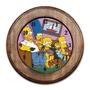 Relógio Família Simpsons Com Moldura De Madeira