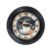 Relógio De Parede Coffe Em Metal E Vidro