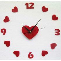 Relógio De Parede Grande Corações Decorativo Sala Cozinha