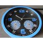 Relogio 25 Cm Cor Azul Com Termometro E Higrometro