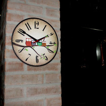 Relogio Parede Madeira Mdf Cozinha Sala Estampado Corujas !!