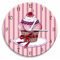 Relógio De Parede Cupcake Cereja
