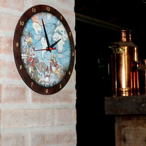 Relogio Parede Mdf Cozinha/sala Estampado Mapa Mundi