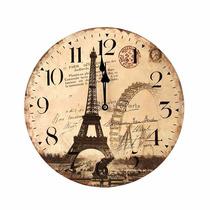 Relógio De Parede 34 Cm Retrô Paris Torre Eiffel França A01