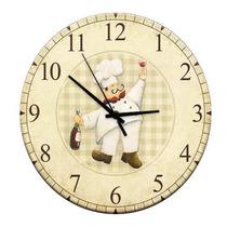 Relógio De Parede Cozinha Chef Vinho Em Madeira