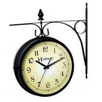 Relógio Parede Herweg 6358 Dupla Face Tipo Estação Retro