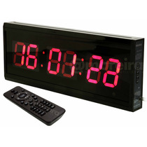 Relógio Cronômetro Digital Grande Parede Led Controle Bivolt