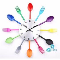 Relógio De Parede Para Cozinha Formato De Talheres Colorido