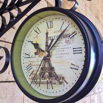 Relógio De Parede Estação Ville De Paris Torre Eifell Retrô