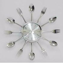 Relógio De Parede Para Cozinha Formato De Talheres Cromado