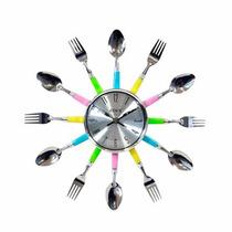 Relógio De Parede Talheres 38 Cm Coloridos O Melhor Do Ml