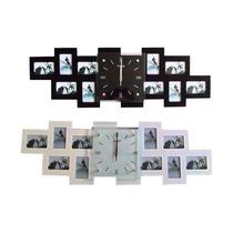Relógio Vidro C/porta Retrato P/10 Fotos 80x26 Preto Novo