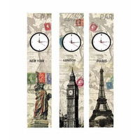 Trio Relógio Quadro London Paris New York 90 X 20cm Novo