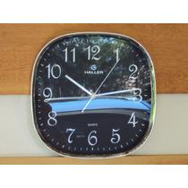 Relógio Parede Preto Cromado 30 Cm Haller Garantia 1 Ano