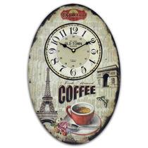 Relógio De Parede Coffee Paris Oval Em Madeira