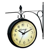 6358 - Relógio De Parede 2 Faces Em Aço Estação Ferroviária