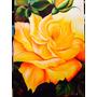Pintura Em Tela Quadro Flor Rosa Amarela Frete Grátis