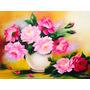 Pintura Em Tela Quadro Floral Flor Vaso Rosas - Frete Grátis