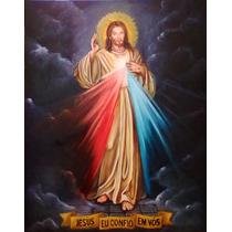 Pintura Jesus Misericordioso 110cm X 80cm Óleo Sobre Tela