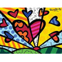 Quadro - Coração- Romero Britto Pintado À Mão 100x100 Cm