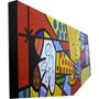 Quadro - O Abraço - Romero Brito - Pintado À Mão 100x40 Cm